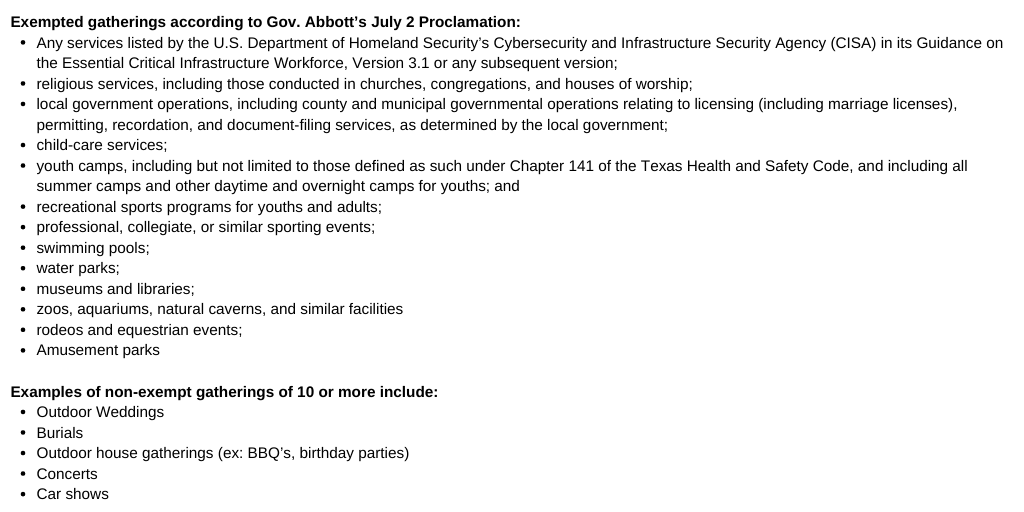 Exempted and non-exempted gatherings per Governor Abbott's July 2nd orders