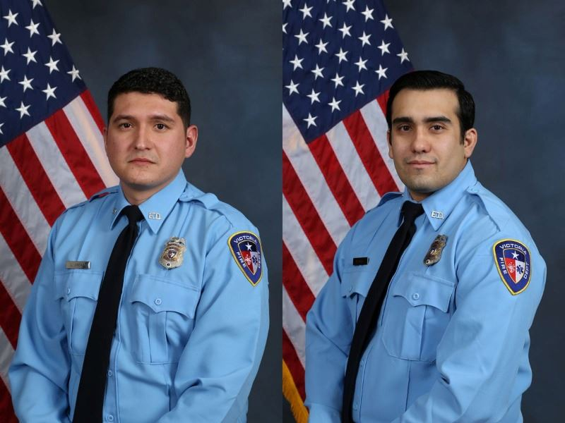 Fire medics Luis Malone-Ordaz and Marcos Tudon