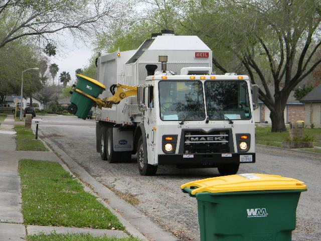 A Solid Waste truck collects residential recycling in Victoria.