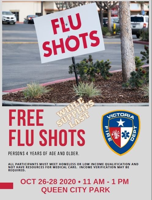 Flyer advertising the flu shot clinic Oct. 26-28, 11 a.m. to 1 p.m. at Queen City Park